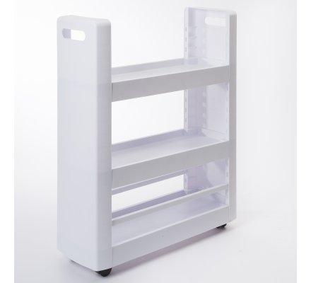 Desserte mobilo meuble de rangement modulable 3 étagères, 4 roulettes, blanc