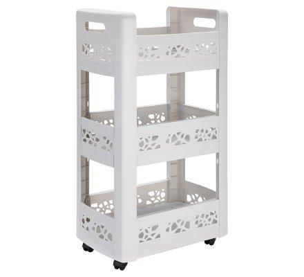 Resserre, desserte mobilo meuble de rangement à roulettes 3 niveaux modulables blanc ajouré