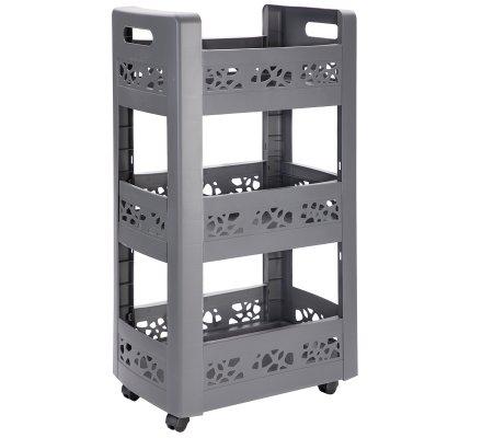 Resserre, desserte mobilo meuble de rangement à roulettes 3 niveaux modulables gris anthracite ajouré