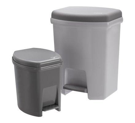 Lot de 2 poubelles à pédale en plastique 27L et 6L coloris blanc et gris