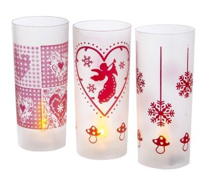 Lot de 3 lumignons à motifs imprimés de Noël et bougie Led H 11cm x D 4,5cm