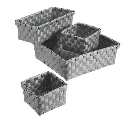 Lot de 4 paniers de rangement en pvc tressé coloris gris