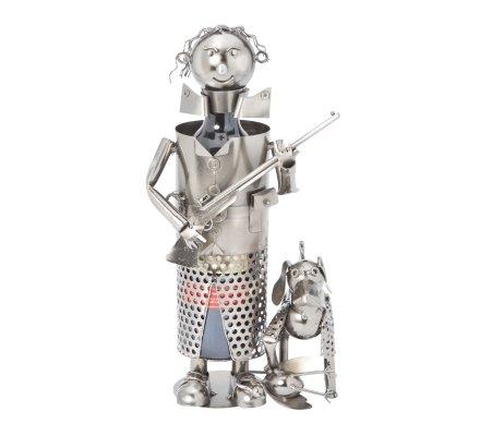 Porte bouteille Métal chasseur avec son chien H28cm