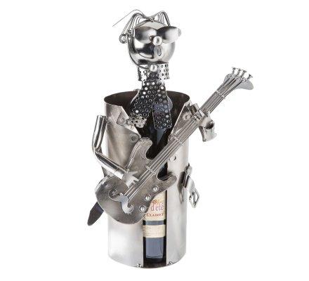 Porte bouteille Métal musicien avec guitare