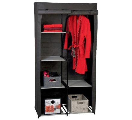 Penderie, dressing, armoire de rangement double 5 étagères 88x46x169cm
