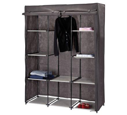 Penderie, dressing, armoire de rangement modulable 7 positions 10 étagères 132x46x169cm