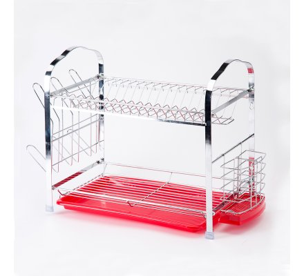 Egouttoir à vaisselle 2 étages rouge