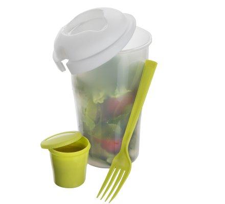 Shaker à salade avec fourchette intégrée coloris vert et blanc