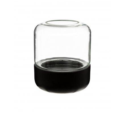 Vase terrarium avec socle en métal et cloche en verre H21cmxD18cm