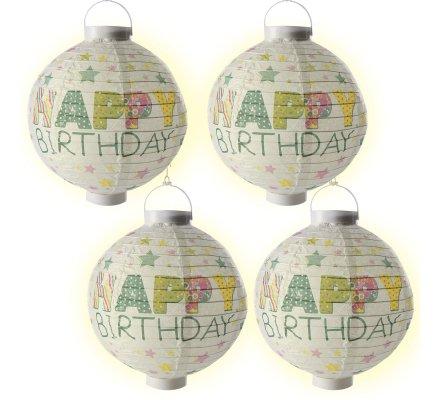 """Lot de 4 lanternes Led en papier """"Happy Birthday"""" D25cm"""