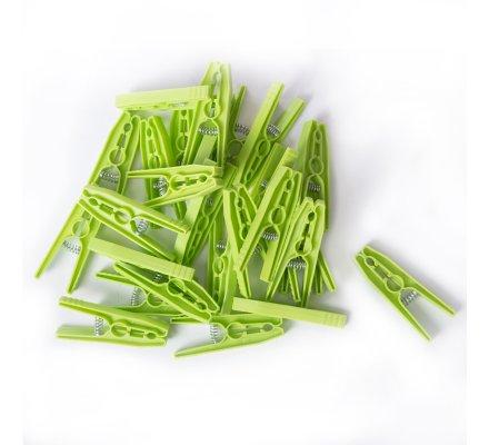 Lot de 100 pinces à linge plastique avec panier coloris aléatoire rose ou vert