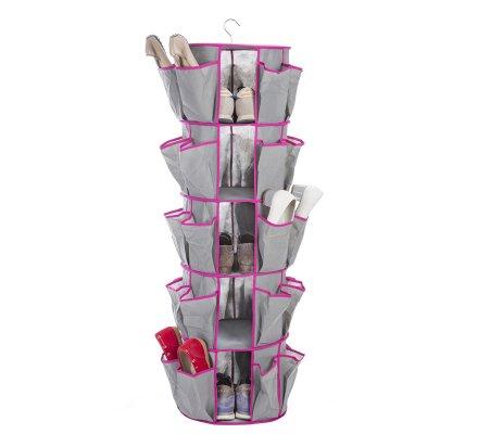 Rack carrousel pour chaussures à suspendre coloris rose 115x34cm