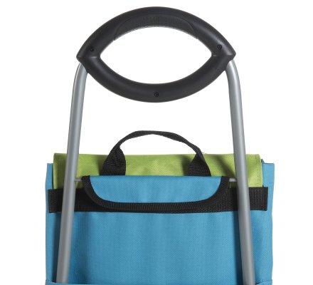 Chariot de course, poussette de marché coloris bleu et vert 40L
