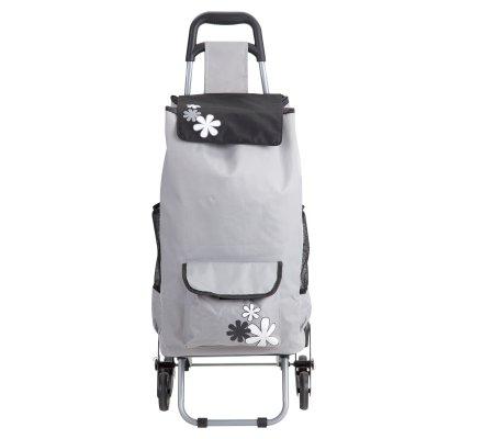 Chariot de course isotherme 6 roues gris avec motif fleur et poches extérieures de rangement 43L