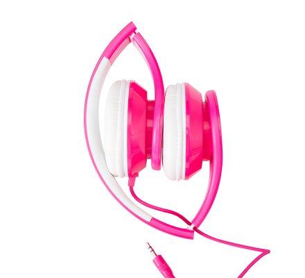 Casque audio réglable coloris rose fluo