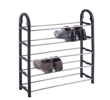 Rangement, étagère à chaussures 5 niveaux en inox et plastique noir 66x51,5x18,8cm