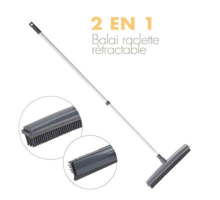 Balai rubber télescopique 2 en 1 gris