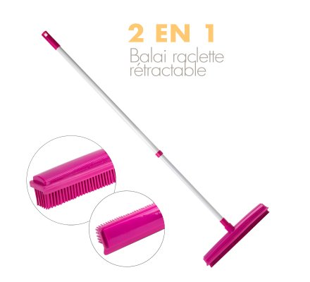 Balai rubber télescopique 2 en 1 rose