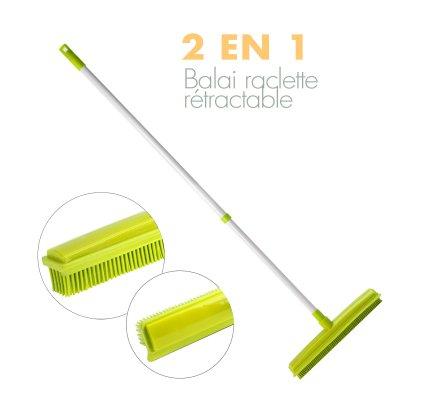 Balai rubber télescopique 2 en 1 vert
