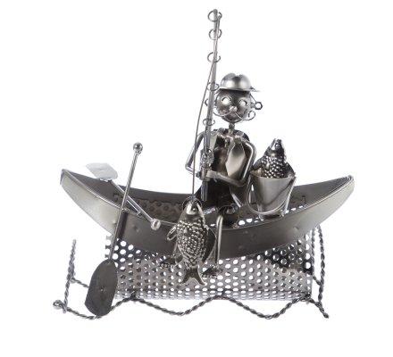 Porte bouteille, présentoir en métal pêcheur sur barque L26cm