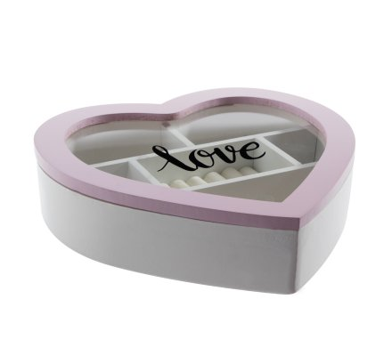 """Boîte à bijoux en bois forme coeur coloris rose 6 compartiments couvercle en verre inscription """"Love"""""""