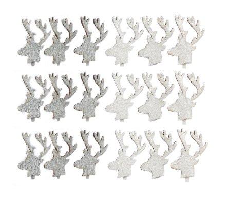 Lot de 18 pinces en bois tête de renne blanc et argent