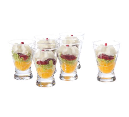 Lot de 6 verrines en verre transparent