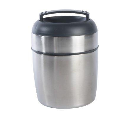 Boite alimentaire, lunch box isotherme en inox 2 compartiments et cuillère intégrée capacité 1,4L