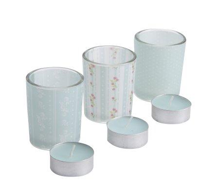 Lot de 3 lumignons déco en verre motif imprimé bleu