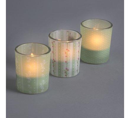 Lot de 3 lumignons déco en verre motif imprimé vert