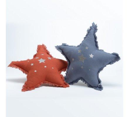 Lot de 2 coussins en forme d'étoile rouge et bleu 100% coton 42cm