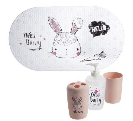 Lot de 4 accessoires de bain pour enfant, tapis de fond de bain, gobelet, distributeur savon et porte brosse à dent motif lapin