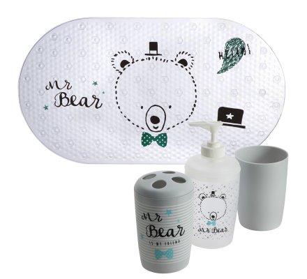 Lot de 4 accessoires de bain pour enfant, tapis de fond de bain, gobelet, distributeur savon et porte brosse à dent motif ours