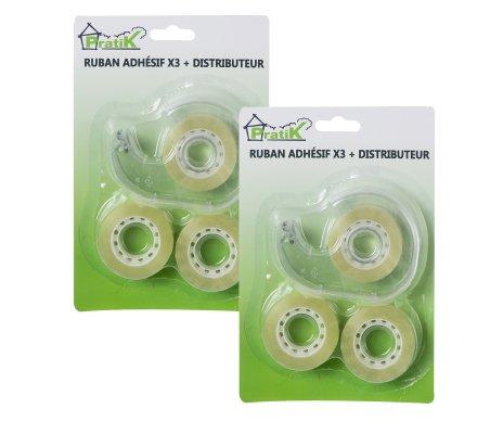 Lot de 6 rouleaux de ruban adhésif transparent + 2 distributeurs