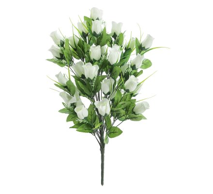 Bouquet de roses blanches artificielles 36 fleurs