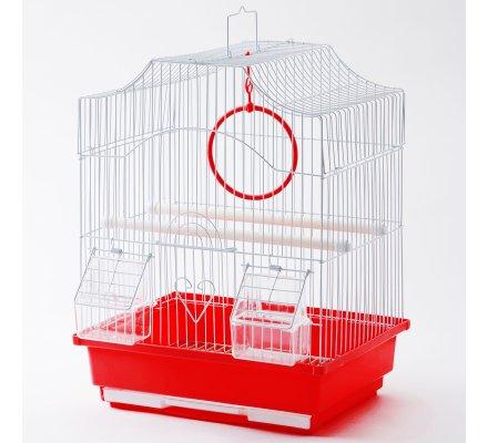 Cage à oiseaux rouge 30x23x39cm