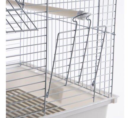 Cage à oiseaux double toit blanche 35x28x46cm