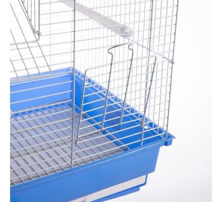 Cage à oiseaux double toit bleu 35x28x46cm