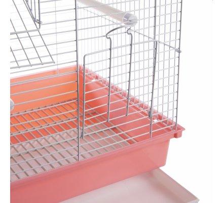 Cage à oiseaux double toit rose 35x28x46cm
