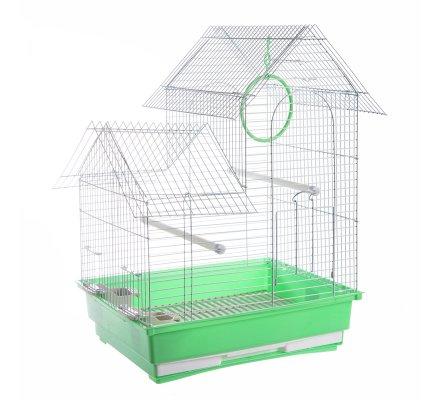 Cage à oiseaux double toit vert 35x28x46cm