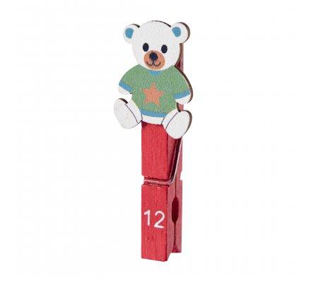 Calendrier de l'avent 24 pinces en bois coloris marron, bleu et rouge