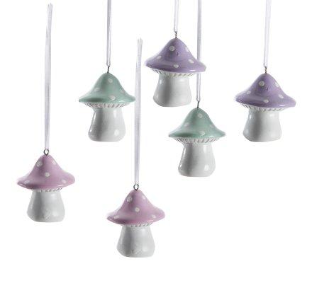 Lot de 6 champignons déco à suspendre en résine rose, violet et vert 14x4cm