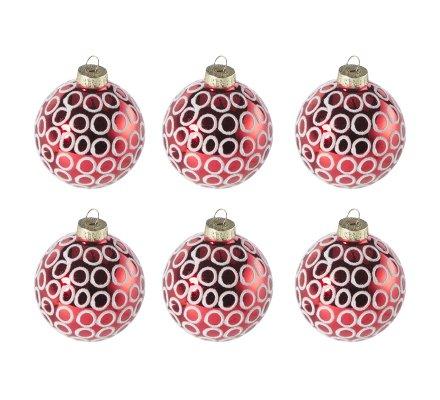 Lot de 6 boules de Noël en verre rouge motif cercle blanc