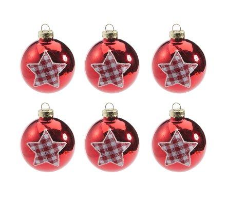 Lot de 6 boules de Noël en verre rouge motif étoile en tissu vichy