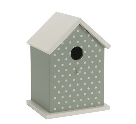Nichoir, cabane à oiseaux en bois forme maison verte à pois blancs
