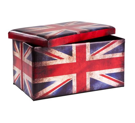Pouf et coffre de rangement pliant drapeau UK