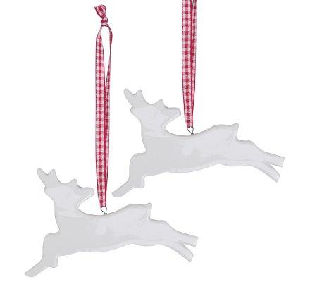 Lot de 2 rennes à suspendre en céramique blanc ruban vichy