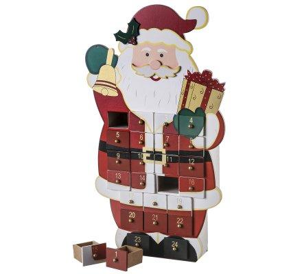 Calendrier de l'avent Père Noël en bois 24 tiroirs H40cm