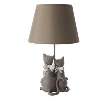 Lampe à poser couple de chats gris avec noeuds, abat-jour coloris taupe