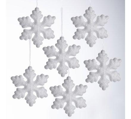 Lot de 6 flocons blancs avec paillettes à accrocher au sapin 11cm